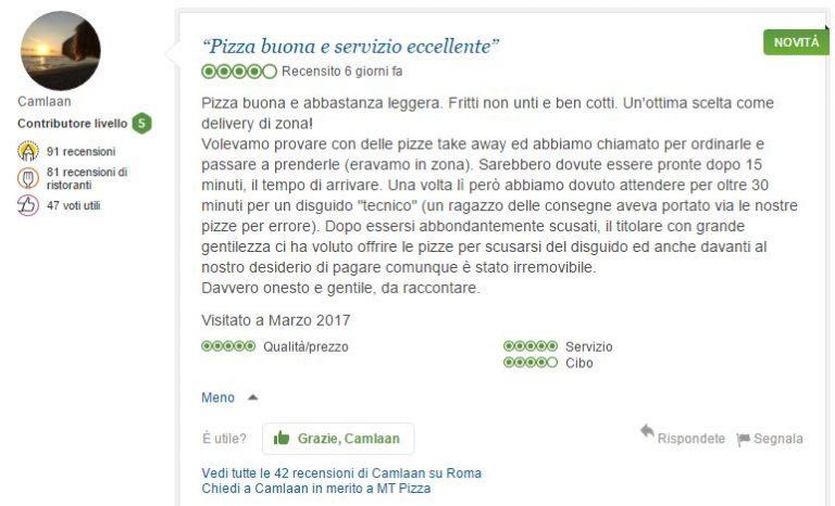 Trip advisor recensione e opinioni su mt pizza